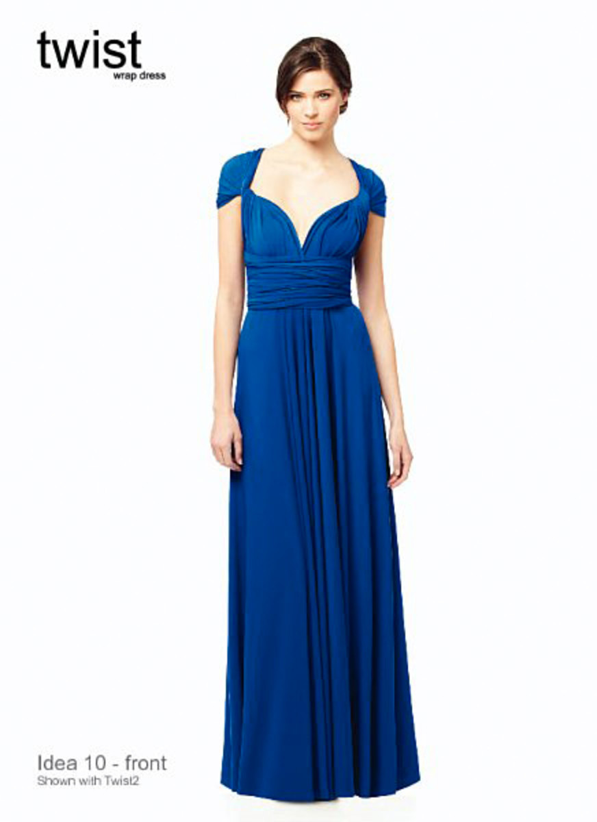This is a twist prom dress.  It is a different take on the wrap.  This would be perfect for creating a slimming effect.