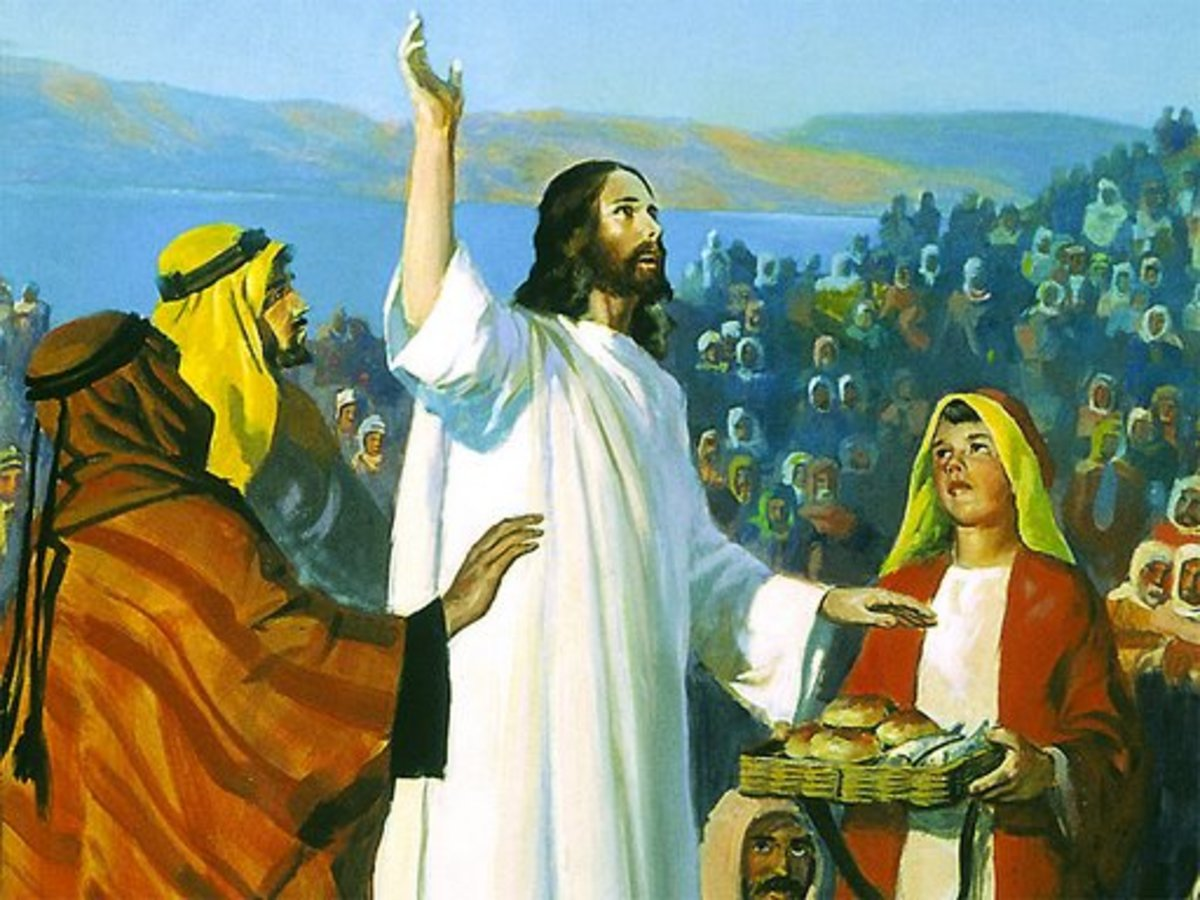 Jesus feeds the multitude  Picture from  http://possessthevision.files.wordpress.com/2008/06/jesus-feeds-the-multitude.jpg