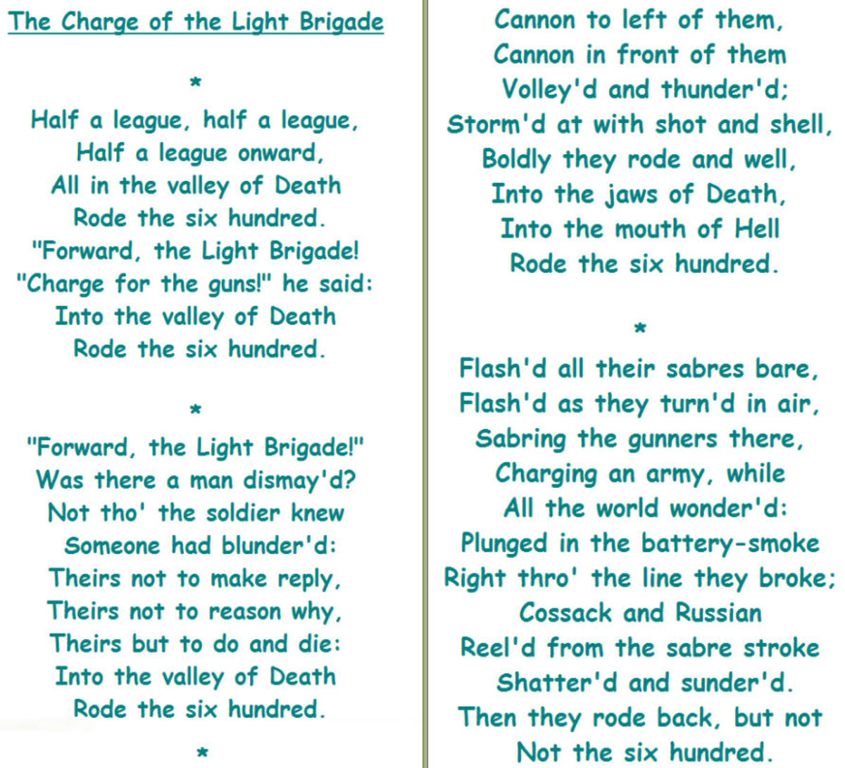 charge of the light brigade poem essay Tennyson's poems summary and analysis of the charge of the light brigade where the charge took place, and wrote this poem within a literature essays.