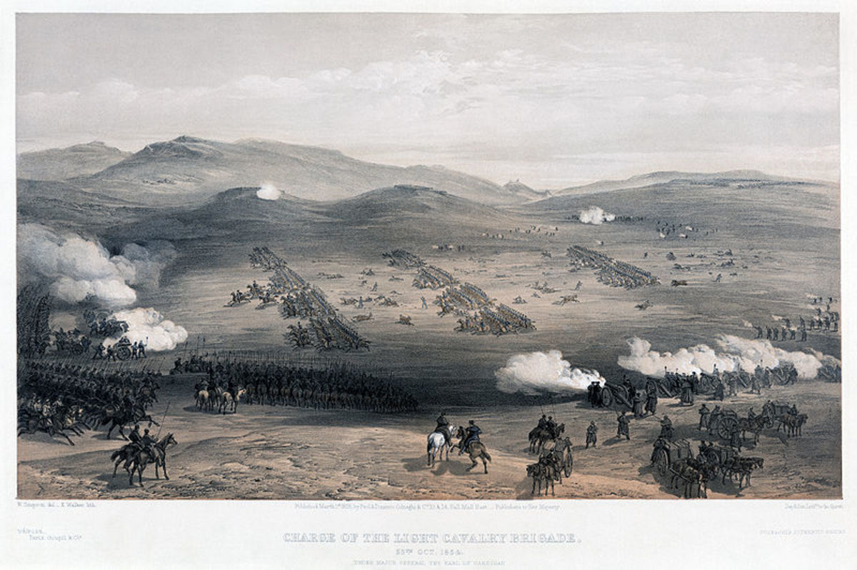 Charge of the light cavalry brigade, 25th Oct. 1854, under Major General the Earl of Cardigan - 1 March 1855 - Library of Congress - William Simpson artist, E. Walker, lithographer. Accessed: http://en.wikipedia.org/wiki/File:Charge_of_the_Light_Brig