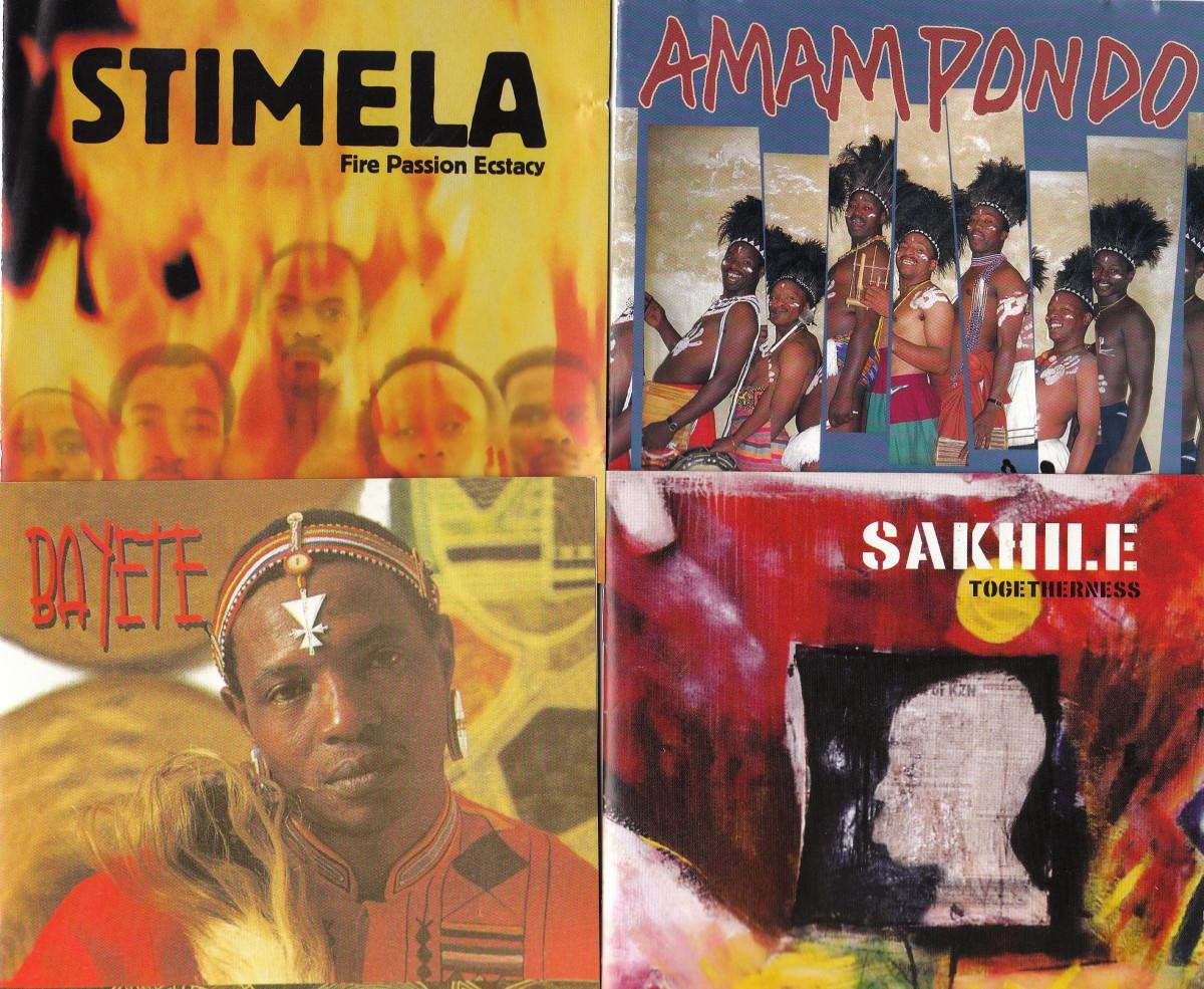 The groups clockwise are: Stimela, Amampondo, Bayete and Sakhile