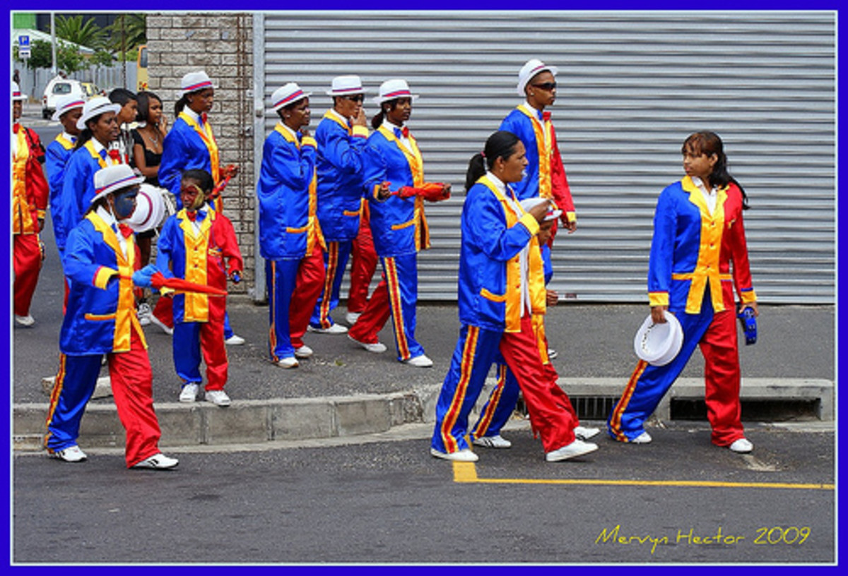 Cape Colored getting ready for the Minstrel Carnival  and Brass Band