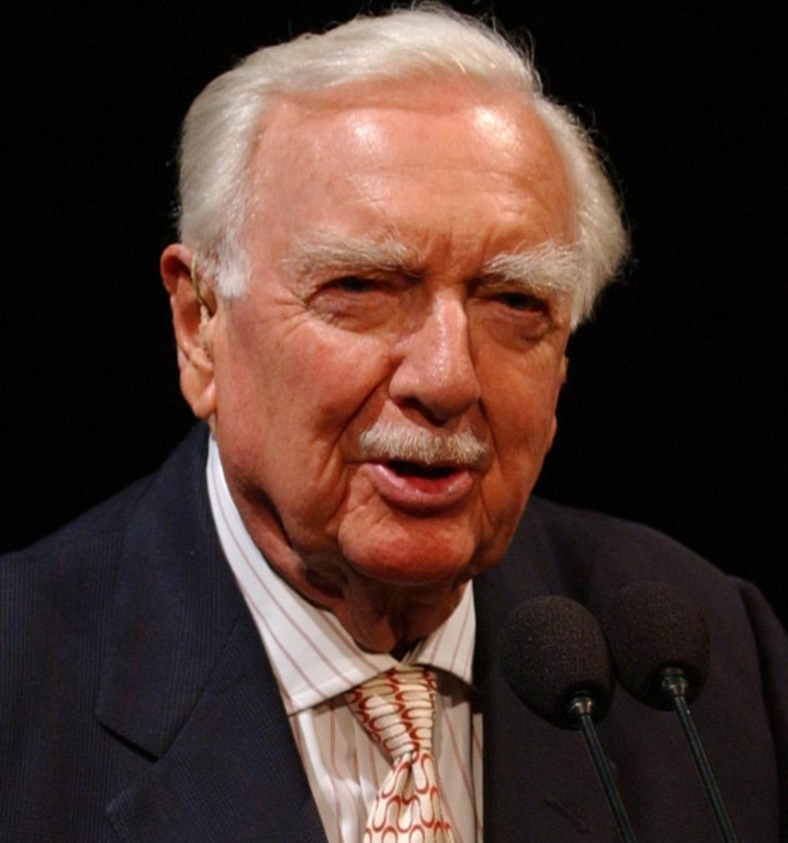 Walter Cronkite speaking at the National Air and Space Museum in Washington.