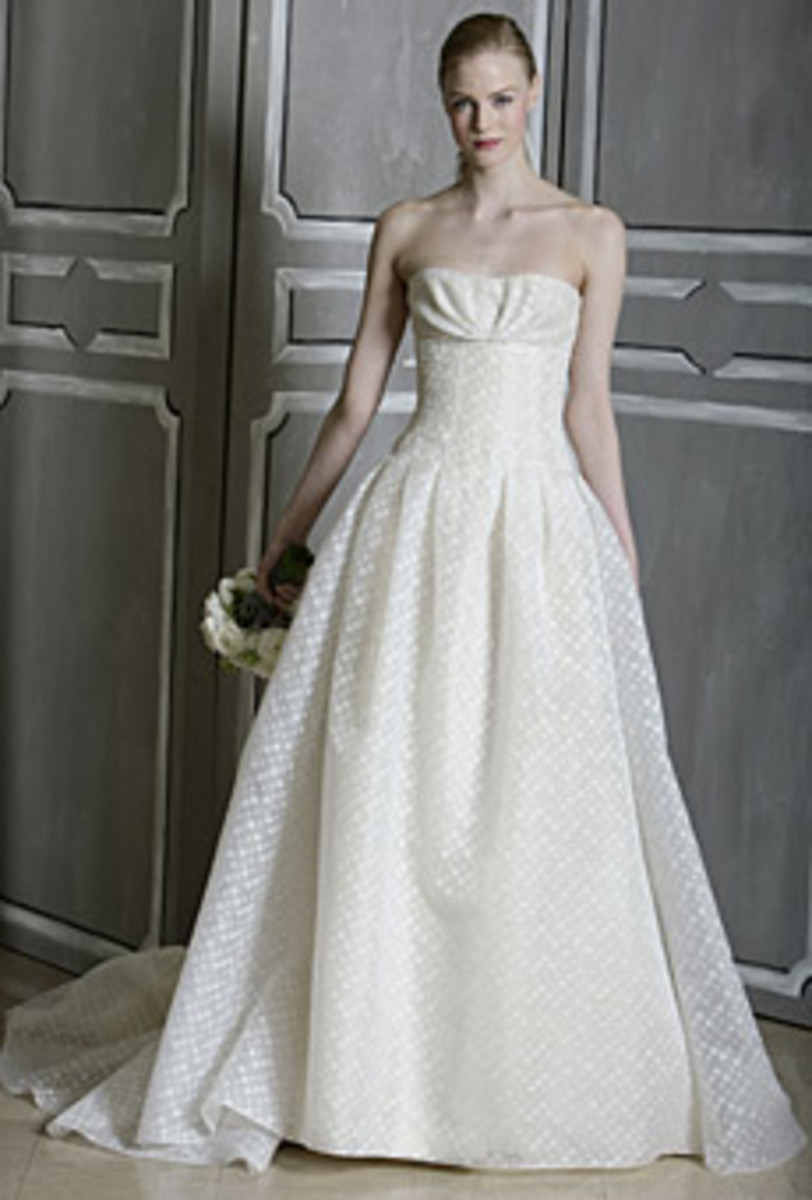 A classic Carolina Herrera bridal gown