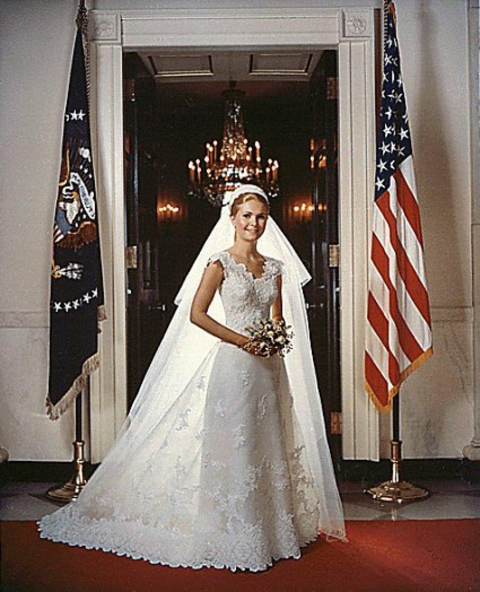 First daughter Tricia Nixon in her custom Priscilla of Boston wedding gown, 1971