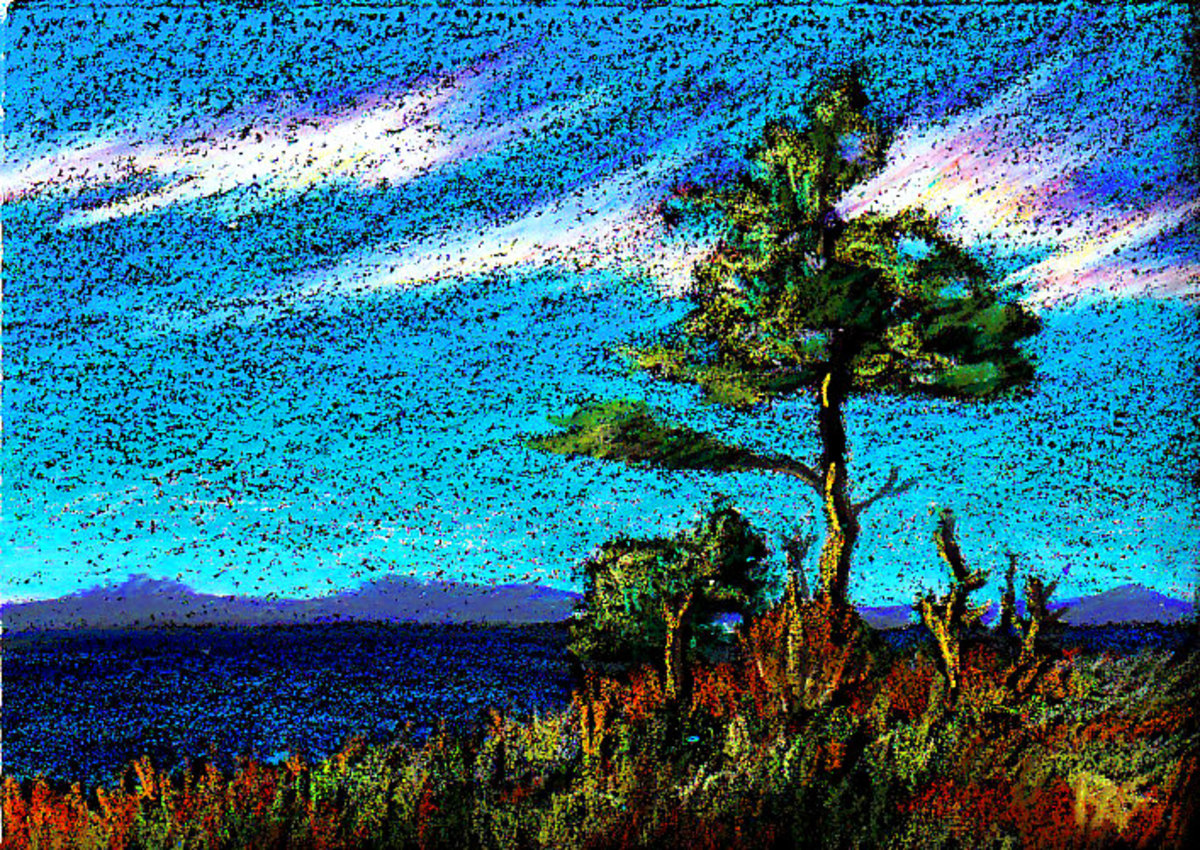 "A Lone Tree, 5"" x 7"" in Neocolor II watersoluble oil pastels on black Colourfix paper by Robert A. Sloan"