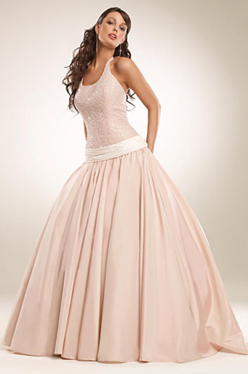Rose colored wedding dress