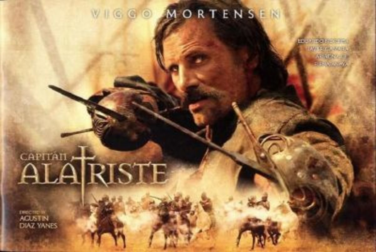 Poster for the film version of Captain Alatriste, starring Viggo Mortensen.
