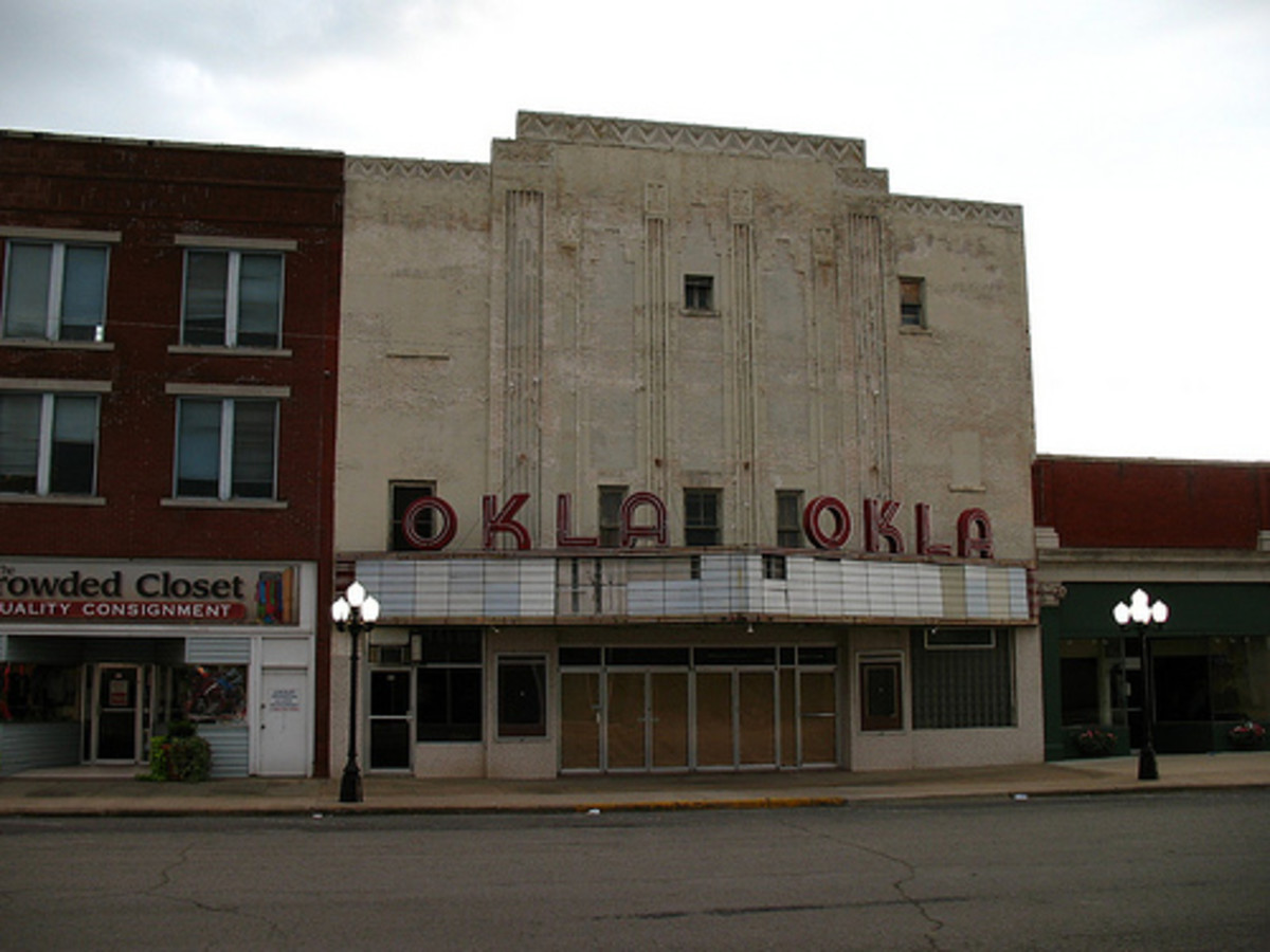 Art Deco movie theater in McAlester, Oklahoma. Built in 1931.