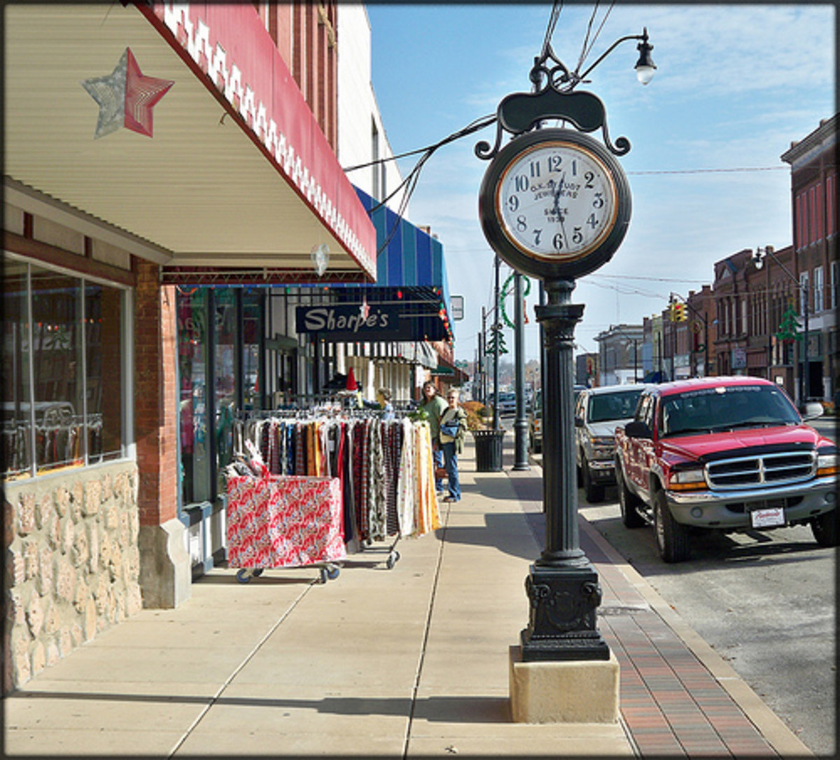 The O.K. Staudt's Jewelers clock in downtown Okmulgee.