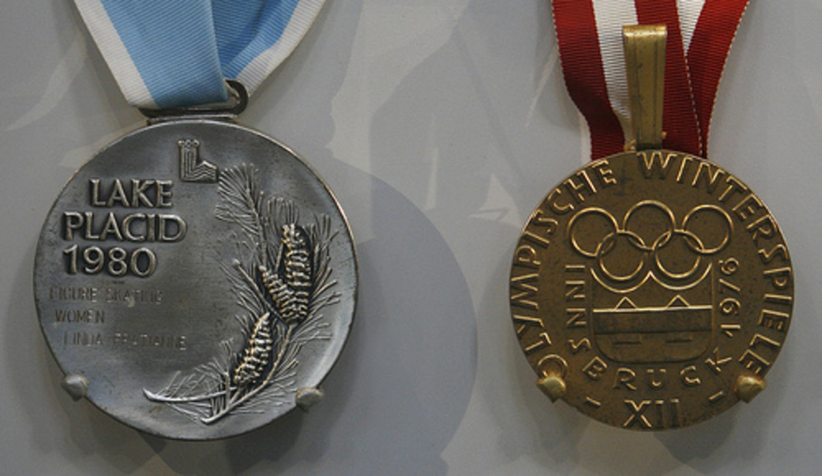 Linda Fratianne's 1980 Silver medal and Dorothy Hamill's 1976 Gold medal.