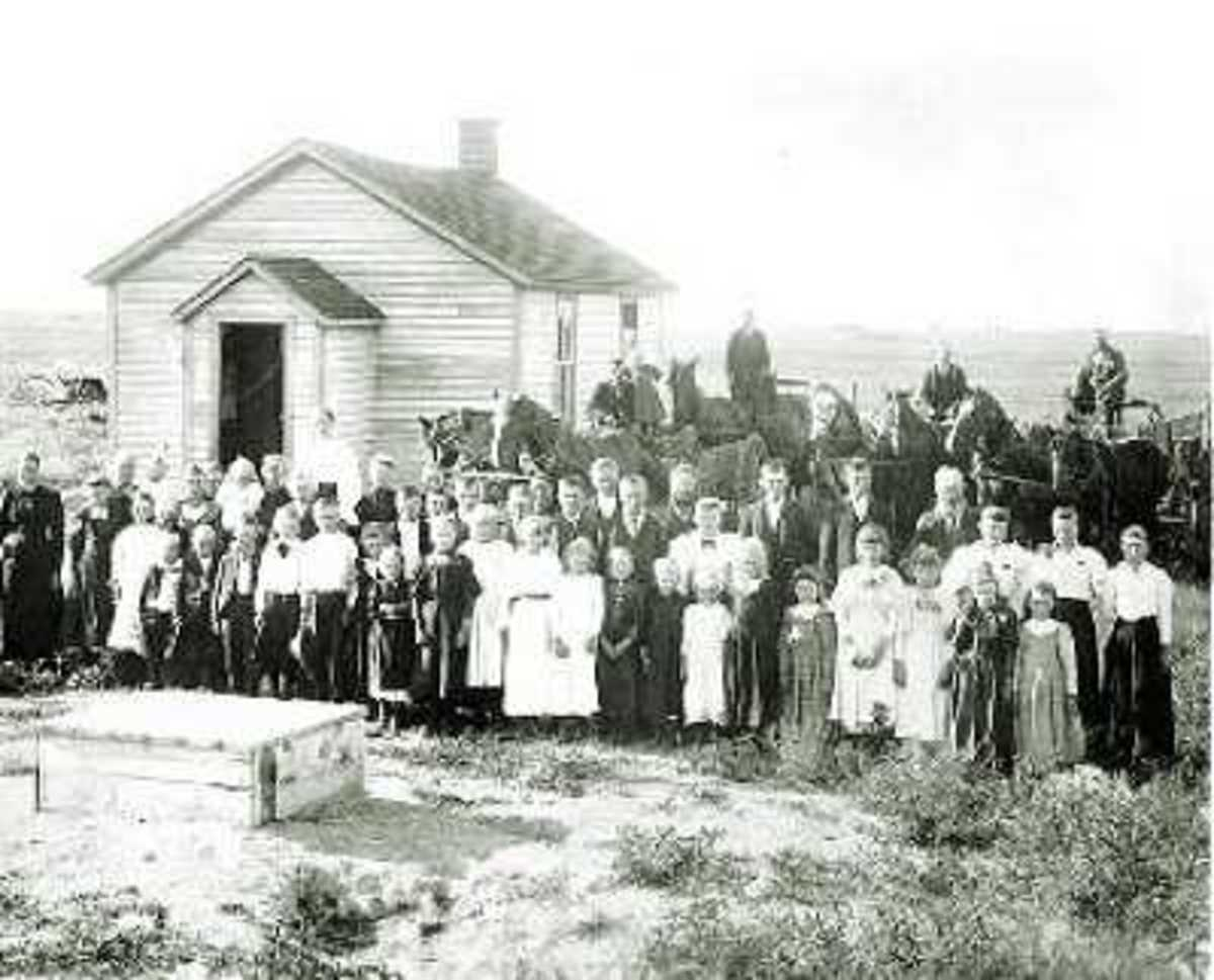 A typical one room schoolhouse.