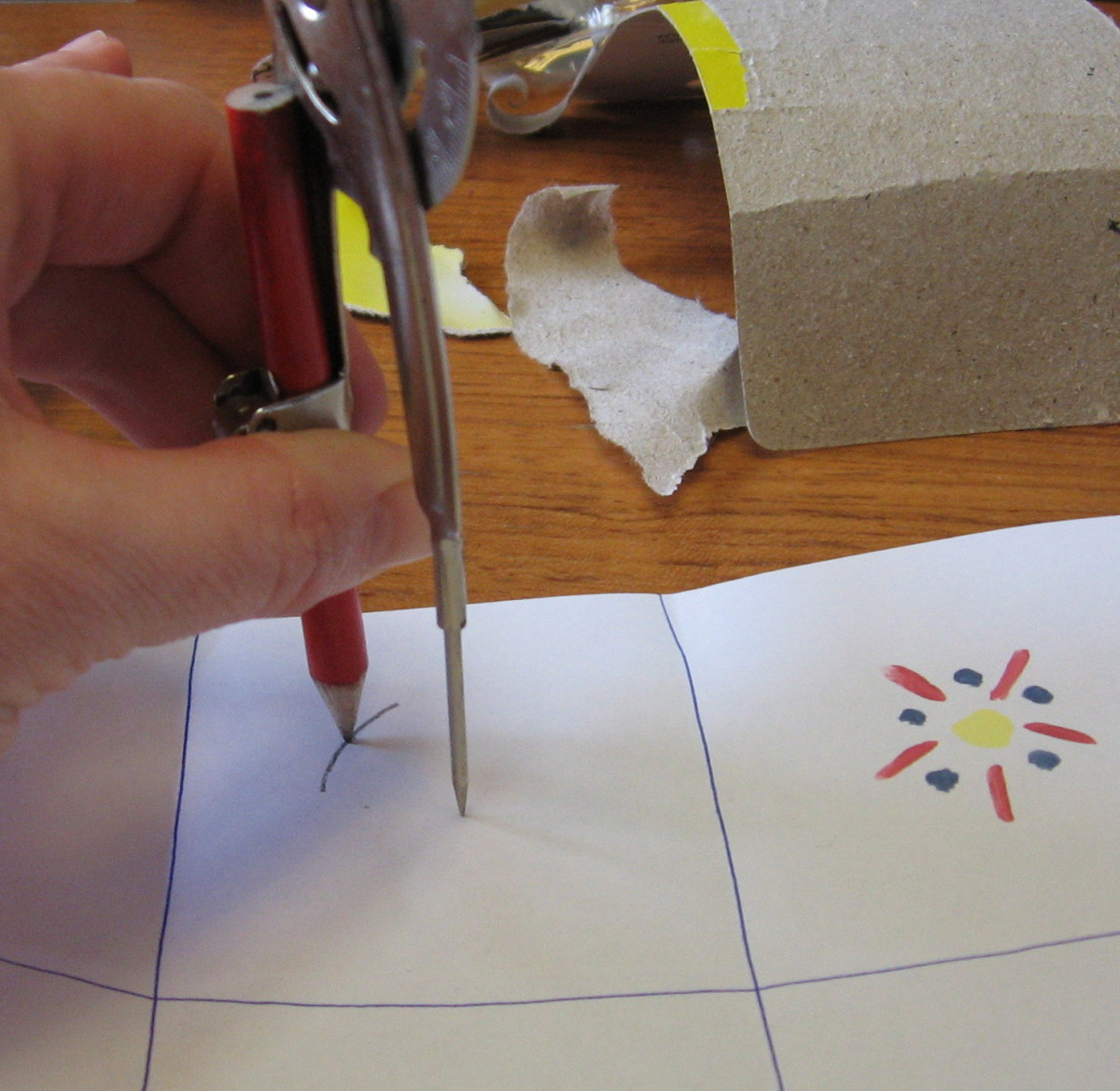 Using a compass to draw a circle the exact size of the knob face.