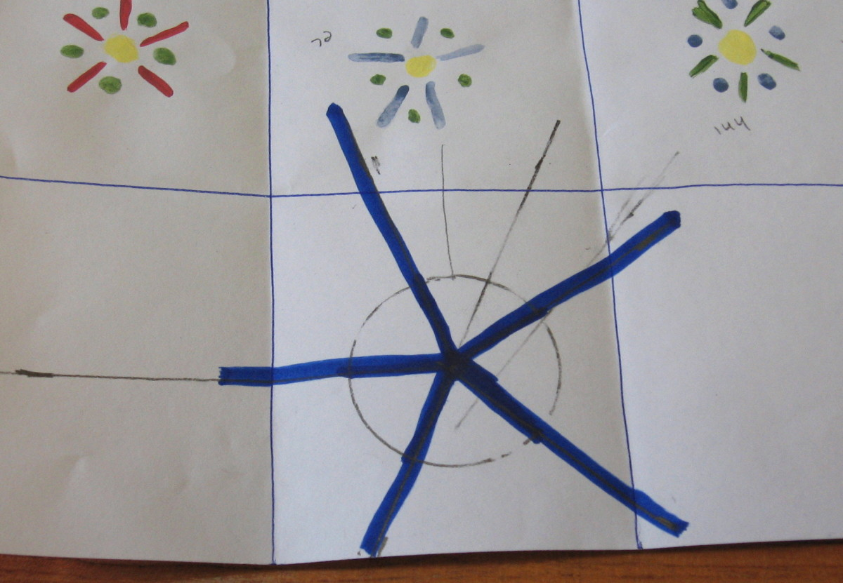 Blue lines are the five angles to space the five petals.