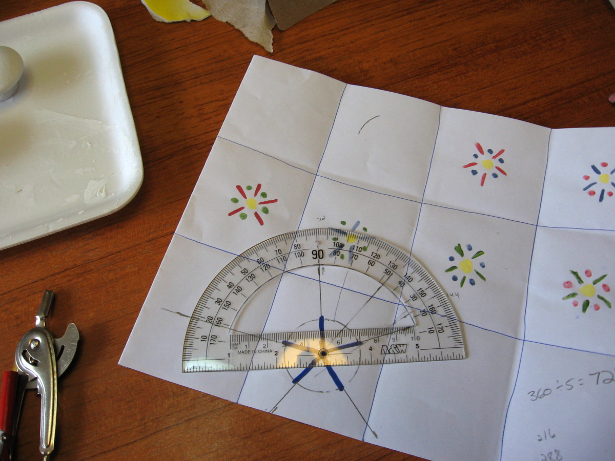 A protractor measures the angles to make them even.