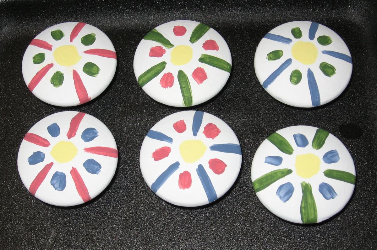 The six yellow dot flowers.