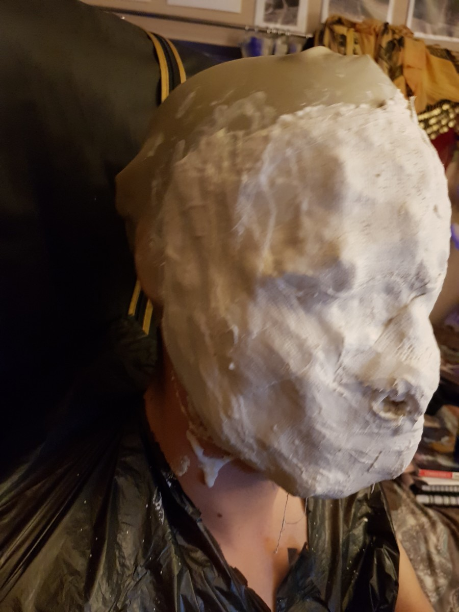 It's best to do many layers and wait until it hardens before taking it off the model's face.
