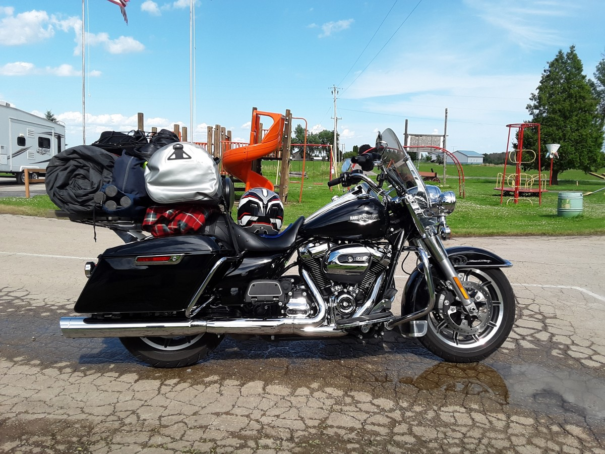 Shorty windshield with luggage after arriving at the Circle R campground, Oshkosh Wisconsin.