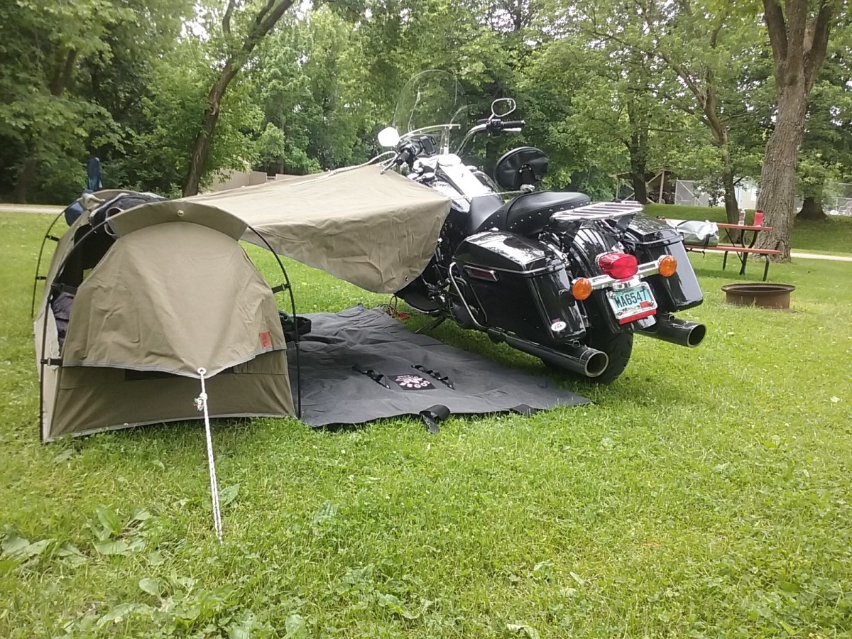 Harley Davidson Road King set up at camp with the Wingman For the Road canvas tent - designed by motorcyclist and made for a motorcyclist!