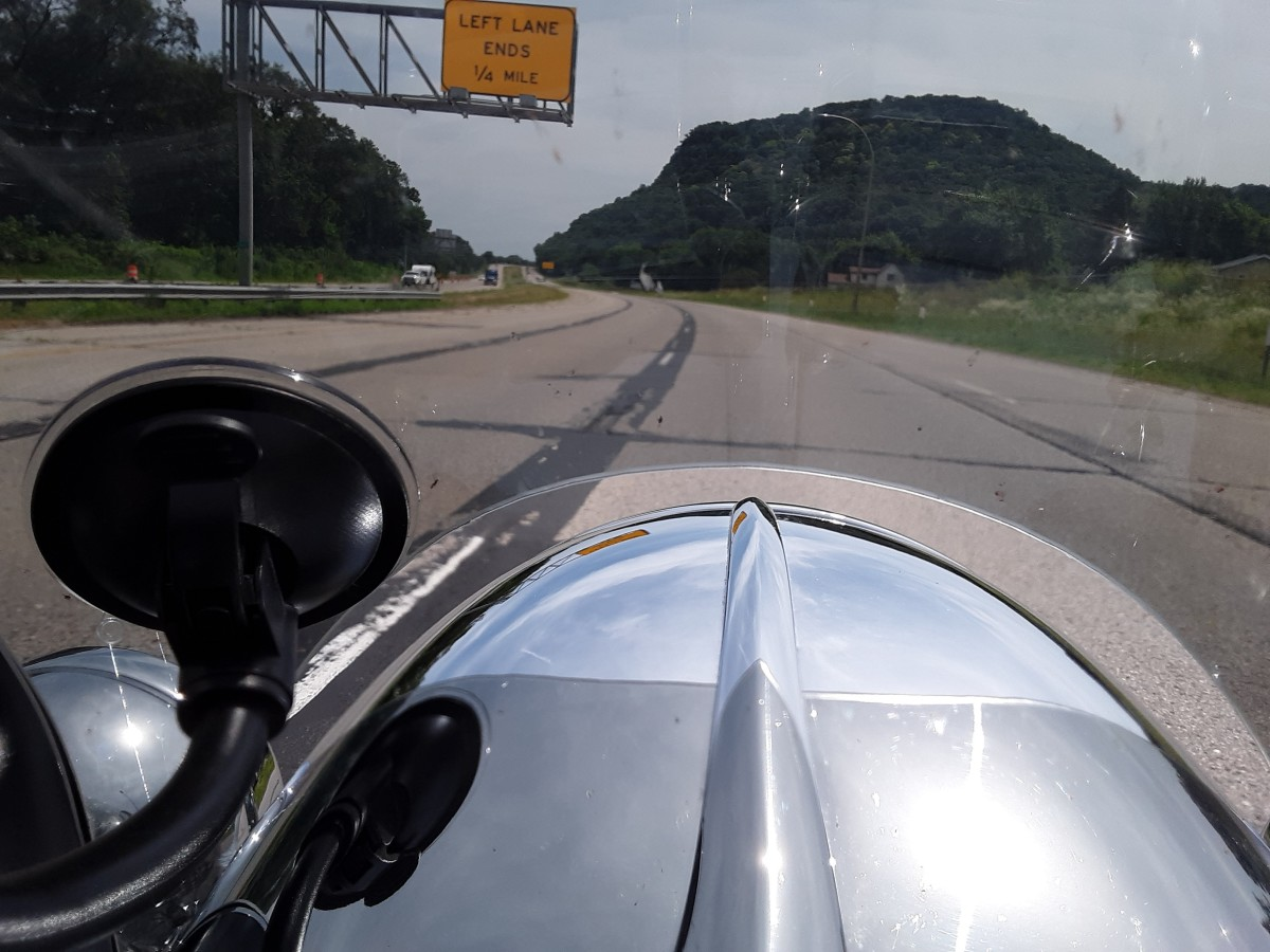 Going down the road on the Harley Davidson Road King.