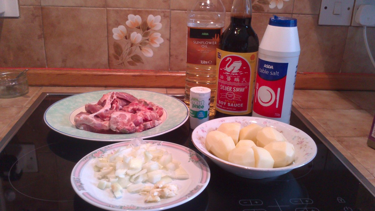 Ingredients of Pork adobo in photos