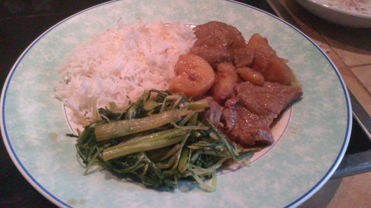 Pork adobo, rice and vegetables