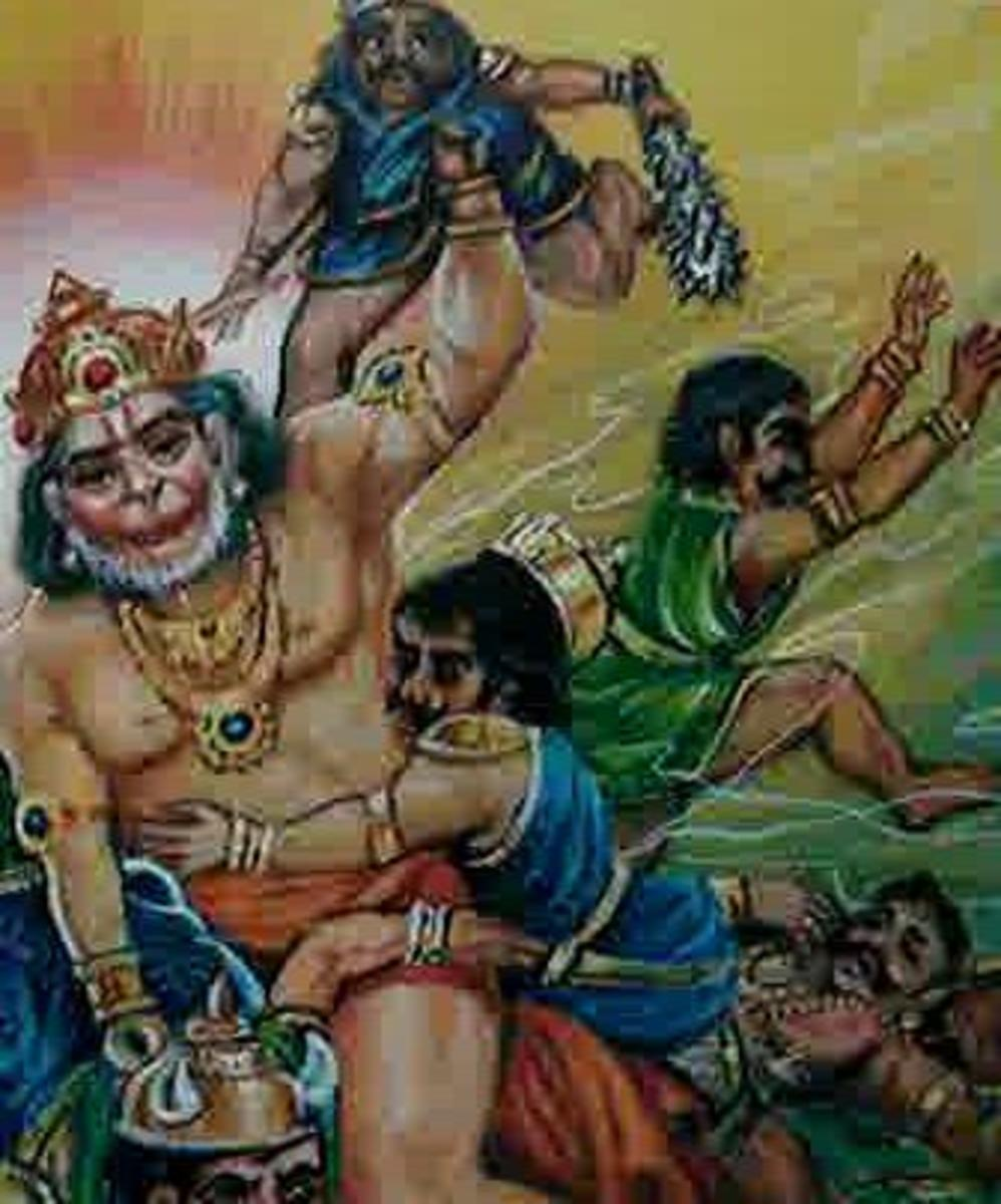 Picture depicting verse 12 of the Hanuman Chalisa
