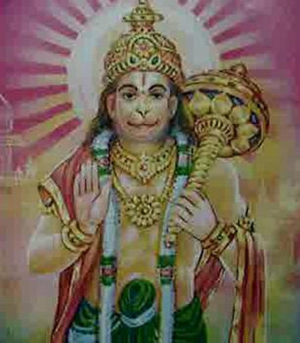 Picture depicting verse 6 of the Hanuman Chalisa