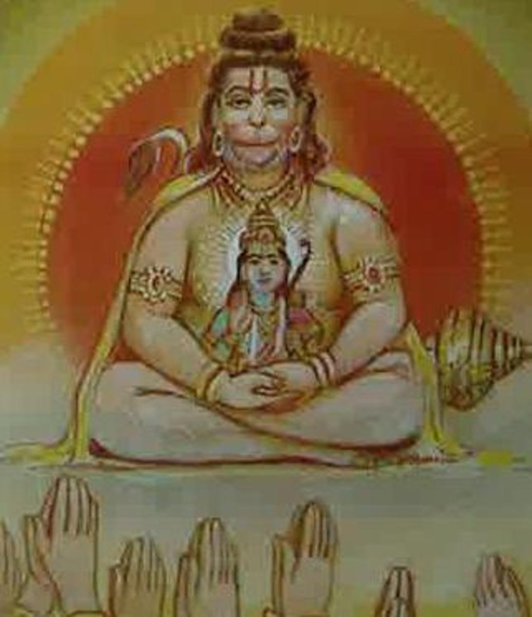 Picture depicting verse 24 of the Hanuman Chalisa