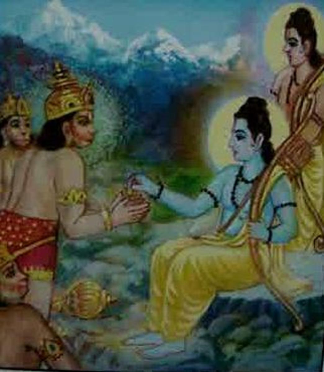 Picture depicting verse 9 of the Hanuman Chalisa