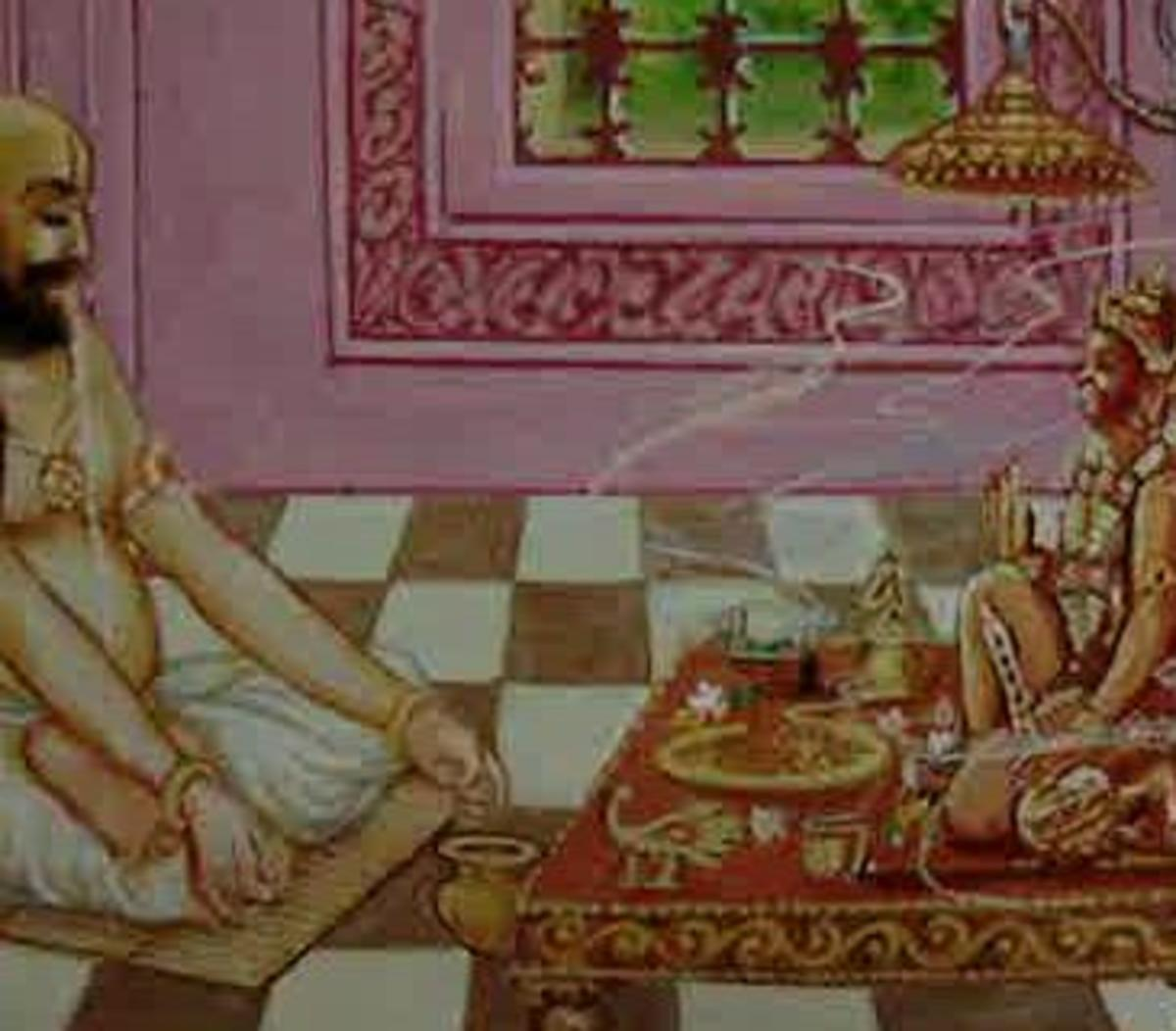 Picture depicting verse 37 of the Hanuman Chalisa