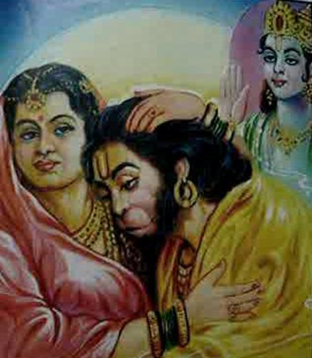 Picture depicting verse 4 of the Hanuman Chalisa
