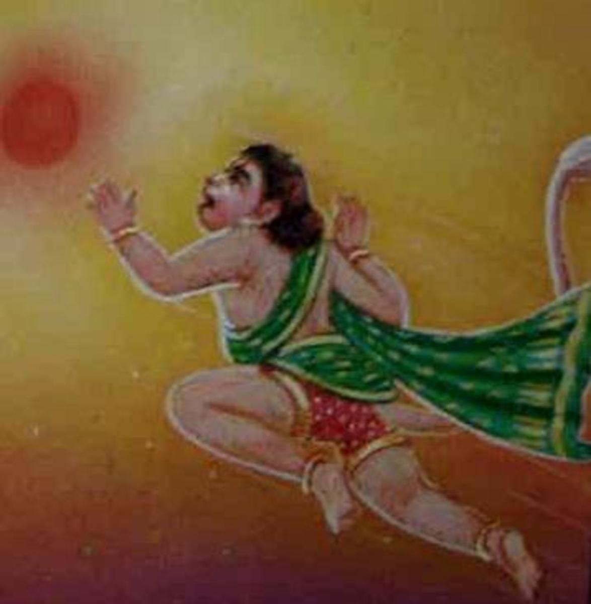 Picture depicting verse 20 of the Hanuman Chalisa