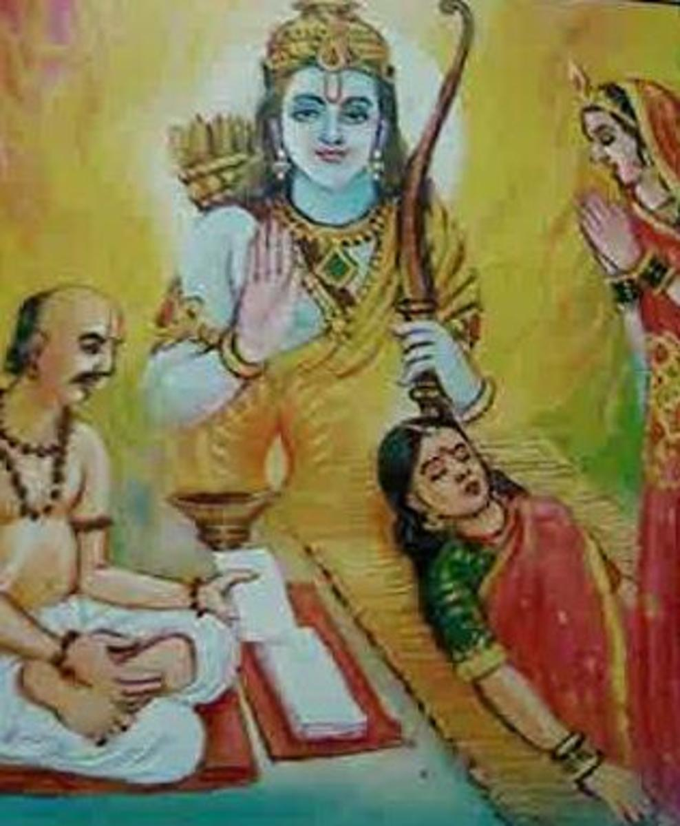 Picture depicting verse 40 of the Hanuman Chalisa