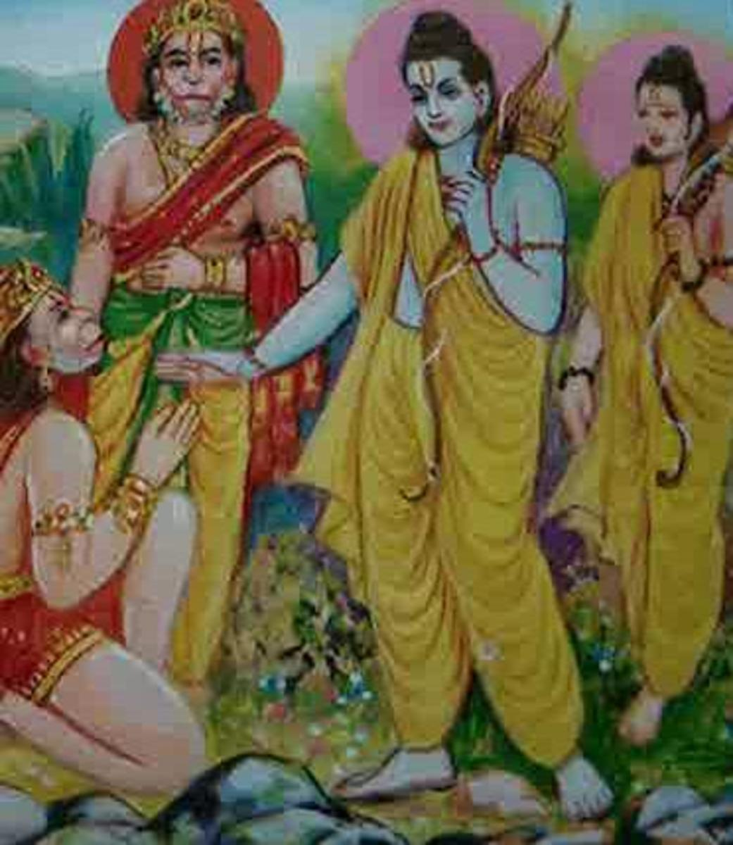 Picture depicting verse 18 of the Hanuman Chalisa