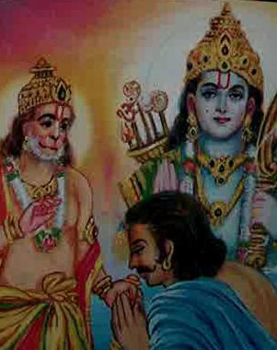 Picture depicting verse 42 of the Hanuman Chalisa