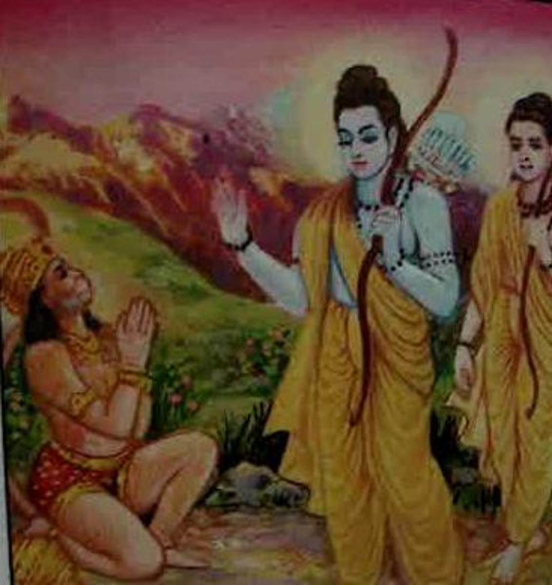 Picture depicting verse 29 of the Hanuman Chalisa