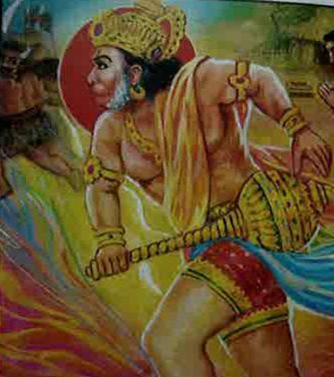 Picture depicting verse 5 of the Hanuman Chalisa