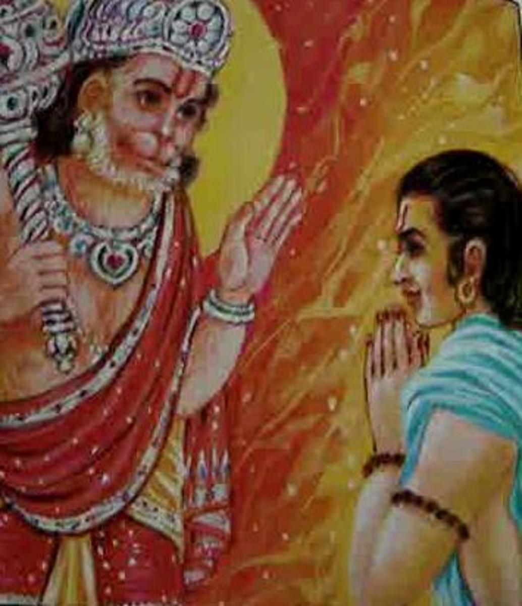Picture depicting verse 39 of the Hanuman Chalisa