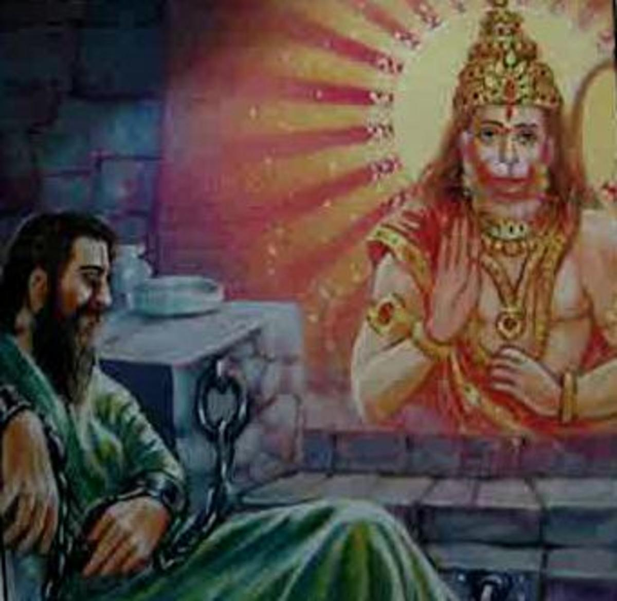 Picture depicting verse 28 of the Hanuman Chalisa
