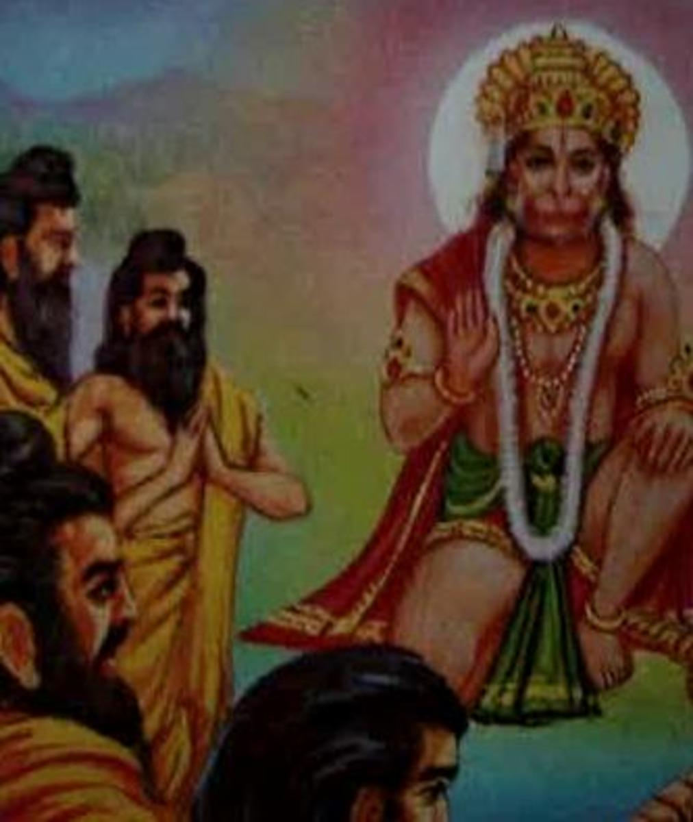 Picture depicting verse 32 of the Hanuman Chalisa