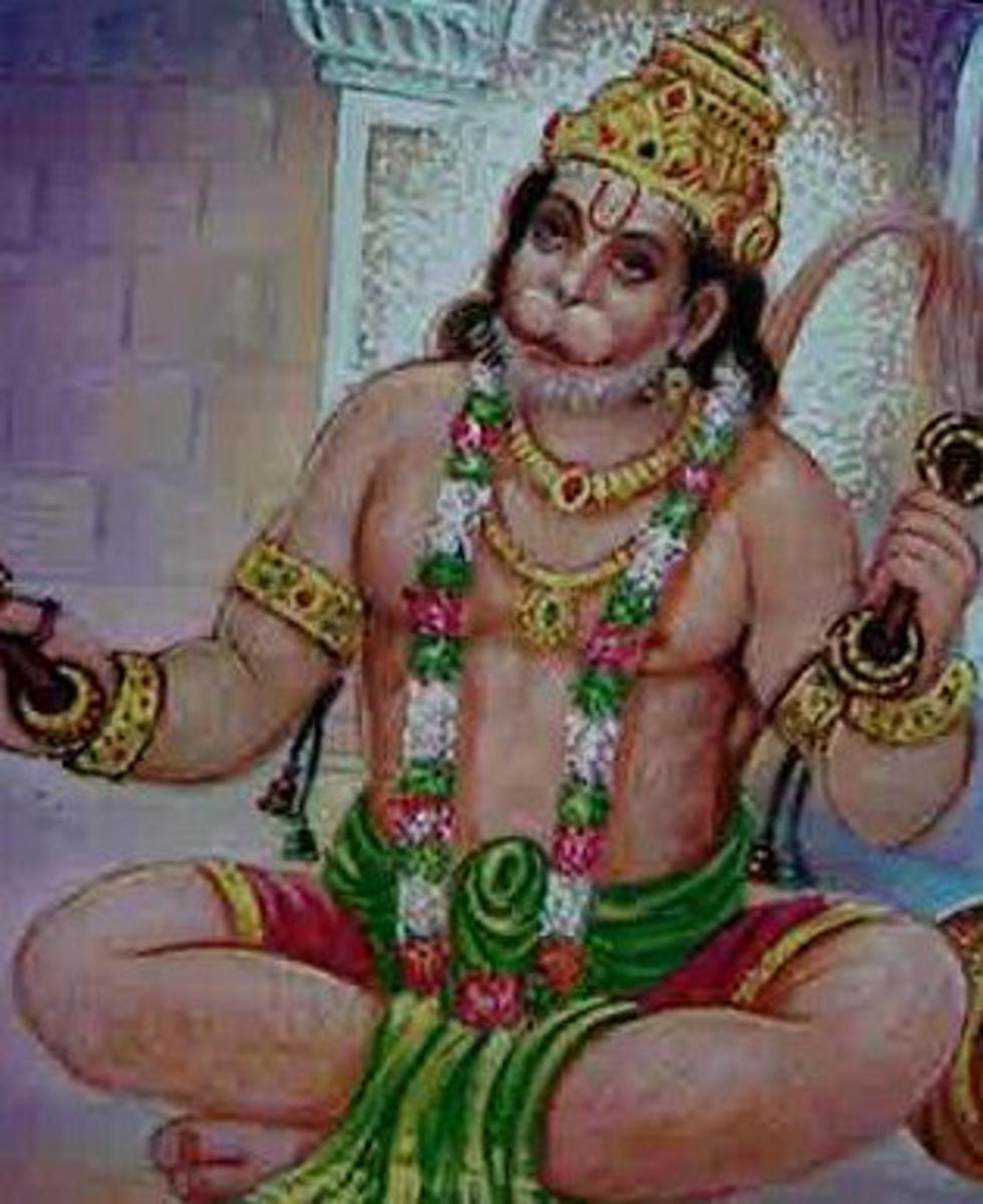 Picture depicting verse 23 of the Hanuman Chalisa