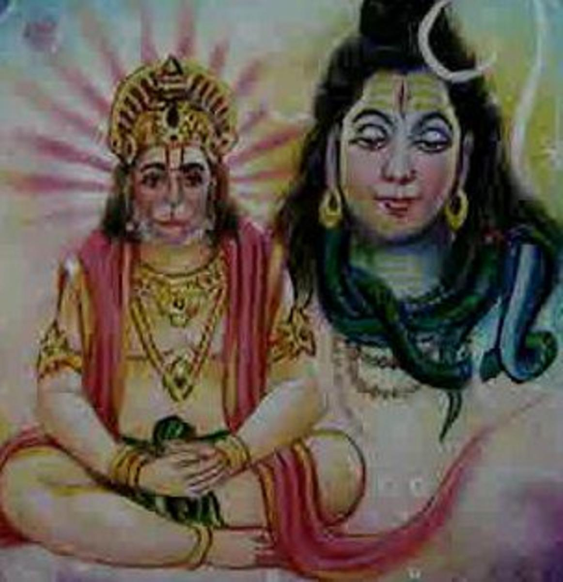 Picture depicting verse 8 of the Hanuman Chalisa