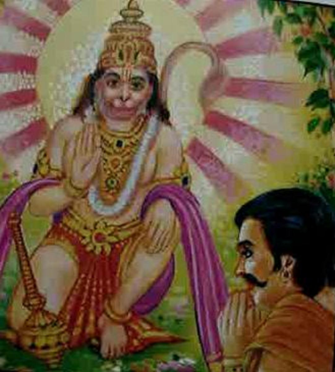 Picture depicting verse 3 of the Hanuman Chalisa