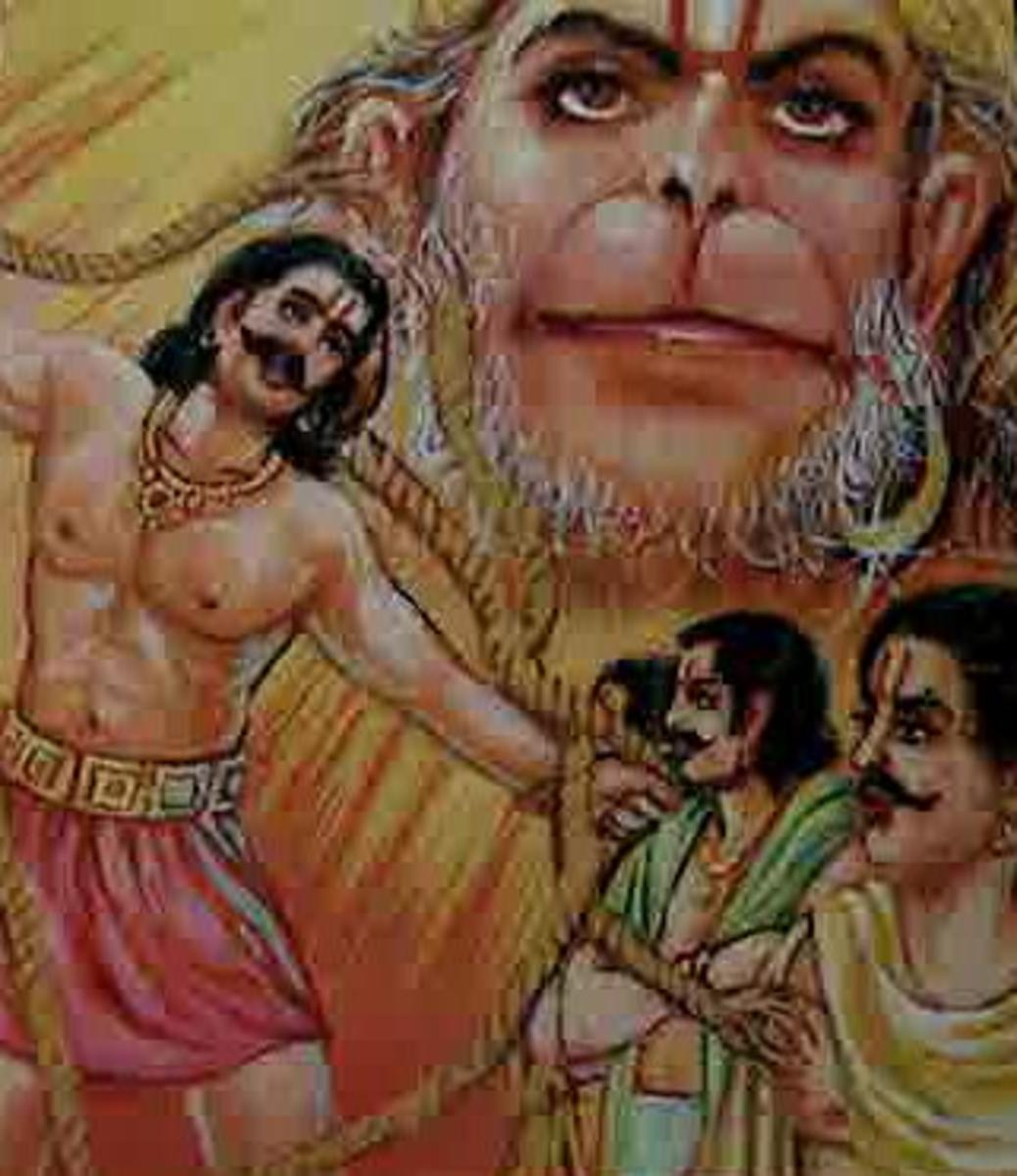 Picture depicting verse 22 of the Hanuman Chalisa