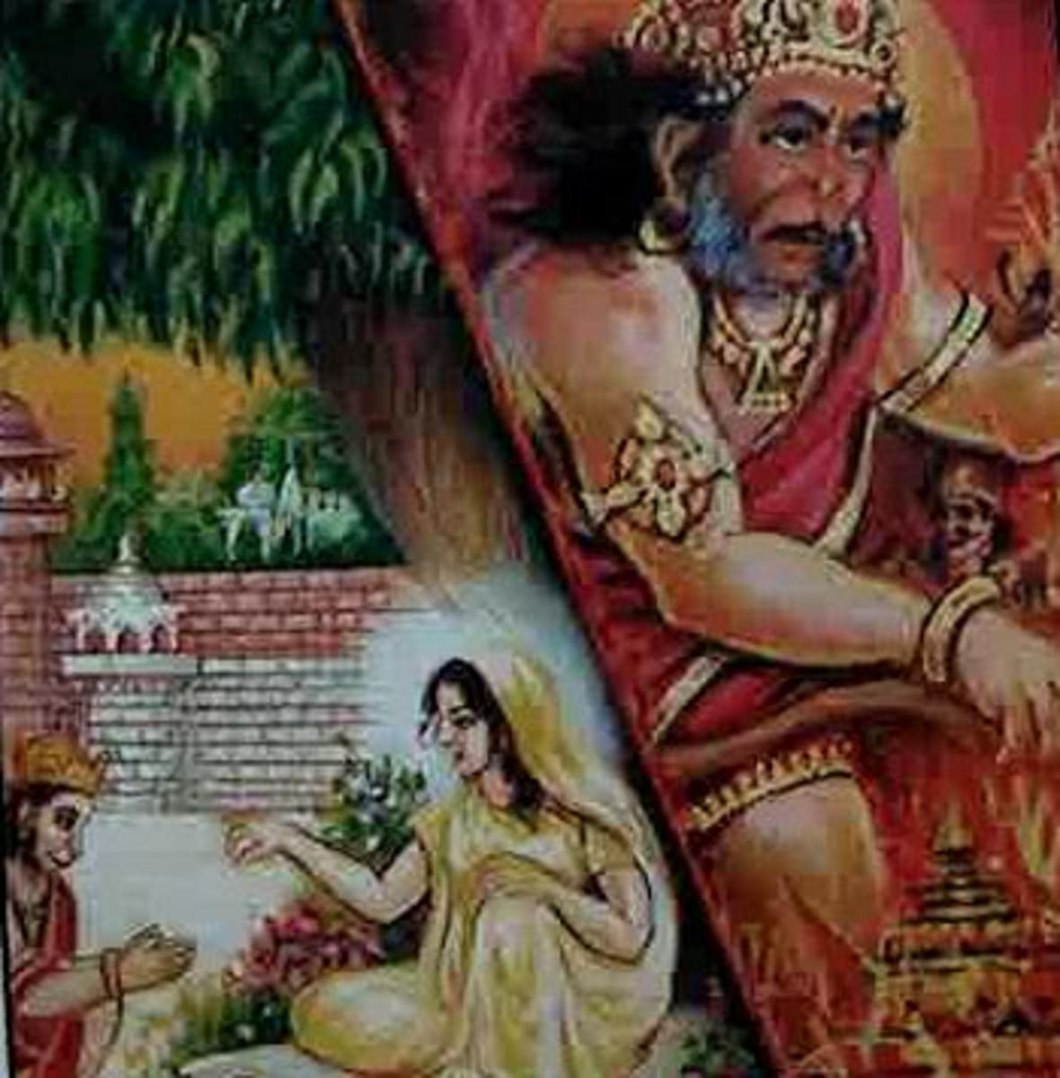 Picture depicting verse 11 of the Hanuman Chalisa