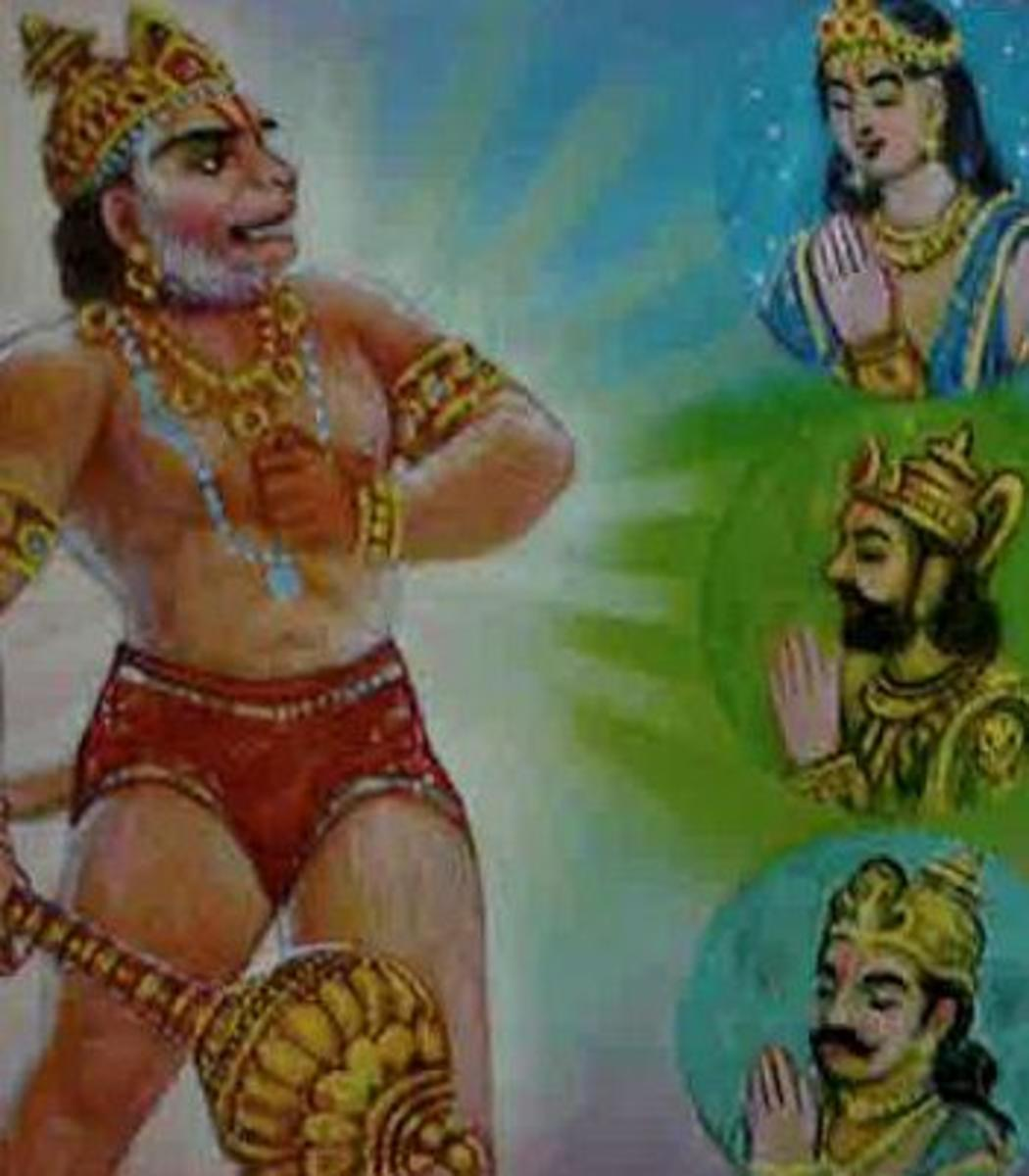 Picture depicting verse 25 of the Hanuman Chalisa