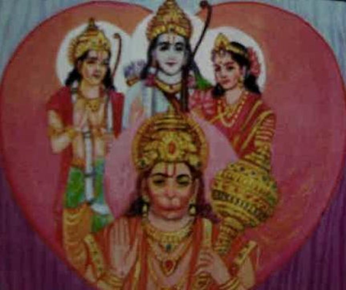 Picture depicting verse 43 of the Hanuman Chalisa