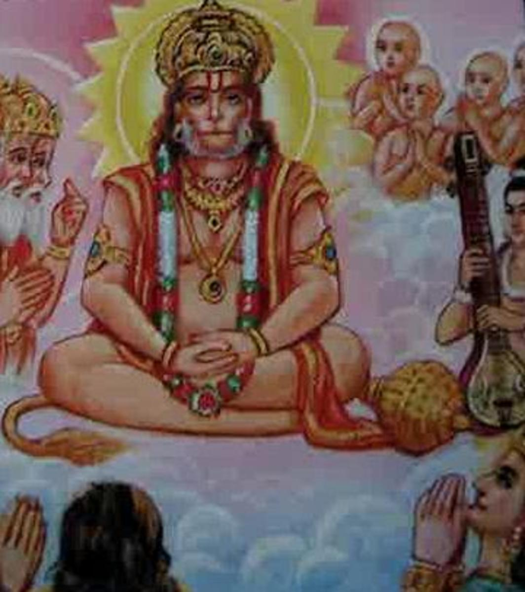 Picture depicting verse 16 of the Hanuman Chalisa