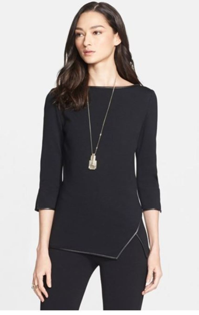 St John Milano Asymmetrical Top with Leather Trim